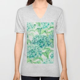 Hand painted green watercolor hydrangea floral pattern Unisex V-Neck