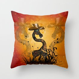 Funny steampunk giraffe with hat Throw Pillow