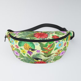 Birds and Nature Floral Exotic Seamless Pattern Fanny Pack