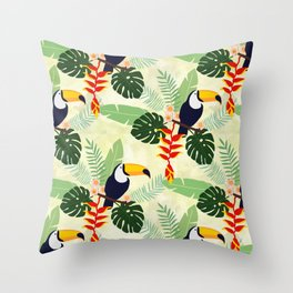 Toucan and Big Leave Pattern Throw Pillow