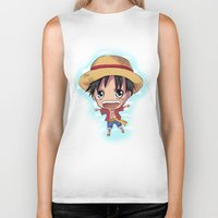 luffy Biker Tanks featuring Luffy by Midnight Tardis