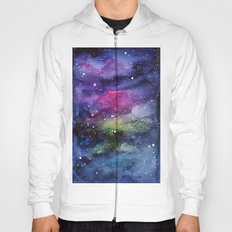 Galaxy Watercolor Night Sky Painting Nebula Art Hoody