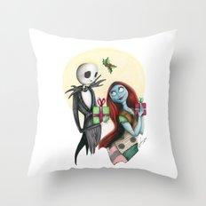 Jack and Sally Merry Christmas Throw Pillow