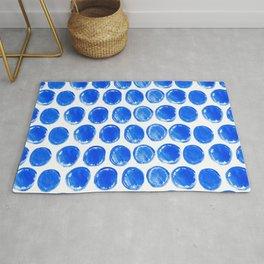 Blue acrylic circles pattern Rug