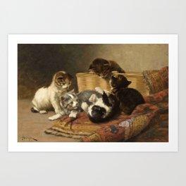 cute kitten 4 – John henry Dolph – playing kittens -pet,whikers,cat,kitty,kitten Art Print