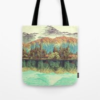 mountain Tote Bags featuring The Unknown Hills in Kamakura by Kijiermono