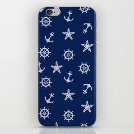 Navy Blue Nautical Pattern iPhone Skin