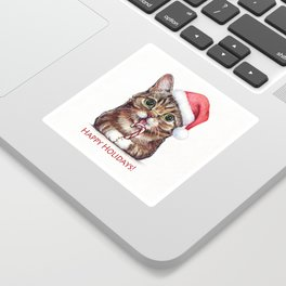 Cat in Santa Hat with Candy Cane Funny Christmas Animal Sticker