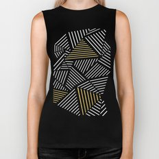 A Linear Black Gold Biker Tank