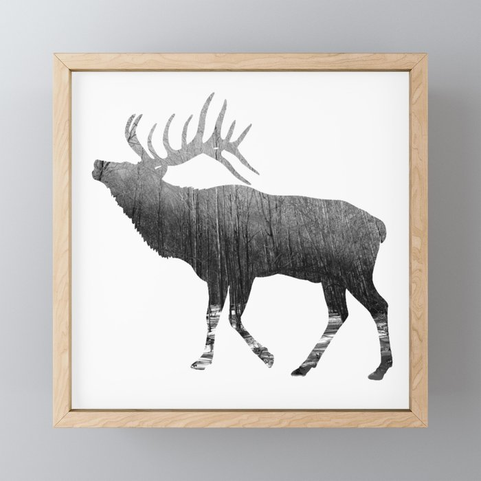 Elk Snowing Forest Framed Mini Art Print