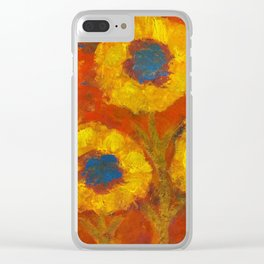 Sunflowers with a golden sun Clear iPhone Case