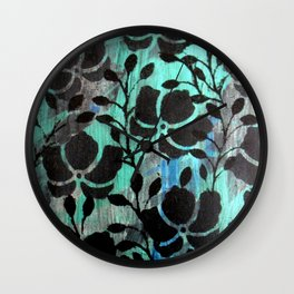 Black stencils flowers Wall Clock