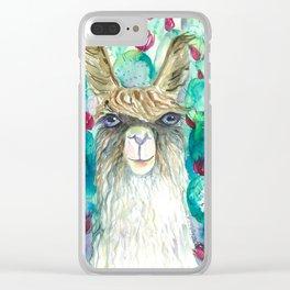Llama in cacti Clear iPhone Case