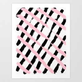 Pink and Black Sketch Checker Art Print