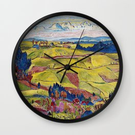 Chamonix Valley and Snow-capped French Alps landscape by Cuno Amiet Wall Clock