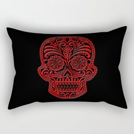 Intricate Red and Black Day of the Dead Sugar Skull Rectangular Pillow
