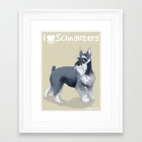 schnauzer Framed Art Prints featuring Schnauzer by Bark Point Studio