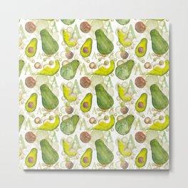 Watercolour Avocados Metal Print