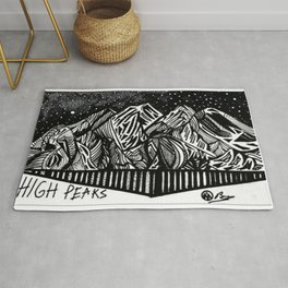 """High Peaks"" Hand-Drawn Adirondacks by Dark Mountain Arts Rug"