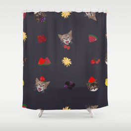 Cute Cats and Fruity Pattern Shower Curtain