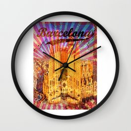 Barcelona vintage poster, metal background Wall Clock