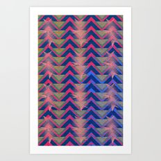 Chevron and  Geometric with pink Art Print