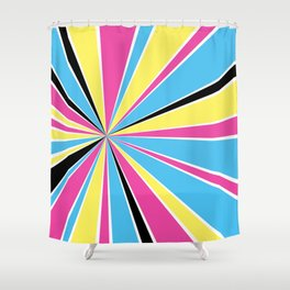 CMYK Star Burst Shower Curtain