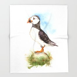 Puffin on a Rock Throw Blanket