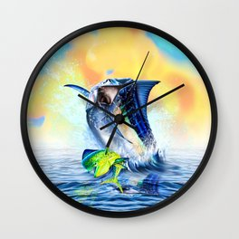 Jumpimg blue Marlin Chasing Bull Dolphins Wall Clock