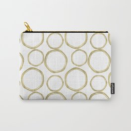 White & Gold Circles Carry-All Pouch
