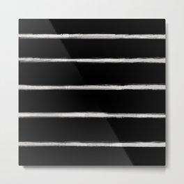 Skinny Strokes Gapped Horizontal Off White on Black Metal Print