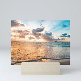 sunset sky over ocean - beach with sunset sky horizon Mini Art Print