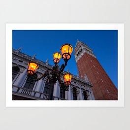 Morning at San Marco square. Campanile San Marco, Biblioteca Nazionale Marciana. Art Print