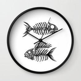 Original Artwork Fish Bone print, Abstract Ink Painting, Summer Home Decor, Seasonal Art Gift Wall Clock