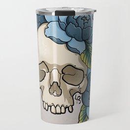 Skull & Blue Peonies Travel Mug