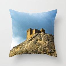 Genoese fortress in Sudak Throw Pillow