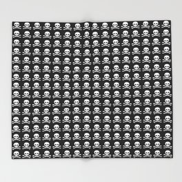 Skull and X-Bones in Black and White (Smaller) Throw Blanket