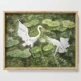 A couple of Storks in the Water-lily Lake Serving Tray