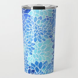 Space Dahlias Sky Blue Travel Mug