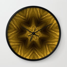 Golden Amber Metalic Abstract Star #Kaleidoscope Wall Clock