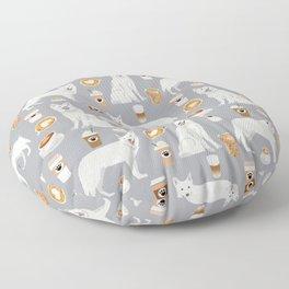 White Shepherd dog breed White German Shepherd grey coffee coffees pet friendly turquoise Floor Pillow