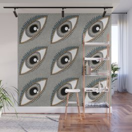 eyes eye neutral colors taupe beige gray brown coral black white Wall Mural