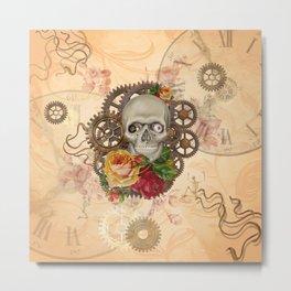 Steampunk Skull Metal Print