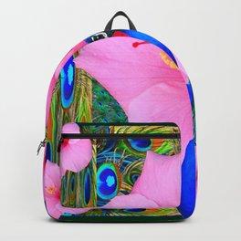 TROPICAL PINK HIBISCUS PEACOCK GREEN ART Backpack