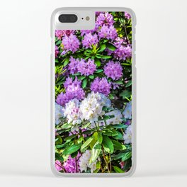 Purple and White Flowers Clear iPhone Case