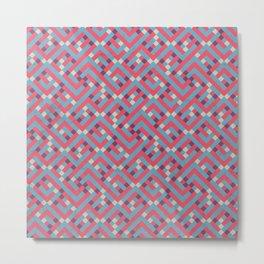 Geometric Labyrinth Red And Blue Metal Print