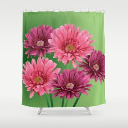 five Gerbra Flowes pink Shower Curtain