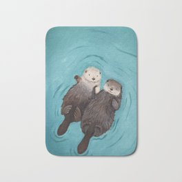 Otterly Romantic - Otters Holding Hands Bath Mat