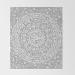 Secret garden mandala in soft gray Throw Blanket