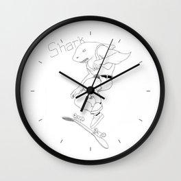 Human Shark Skateboard Wall Clock